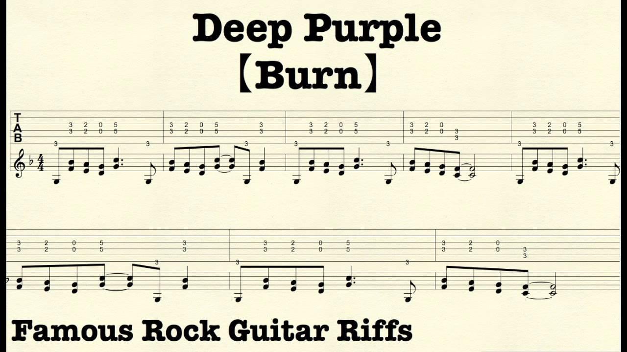 Famous Rock Guitar Riffs with TABsu3010Burnu3011DeepPurple - YouTube