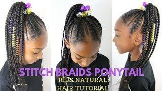 STITCH BRAIDS PONYTAIL ON KIDS NATURAL HAIR ( NO EXTENSIONS)