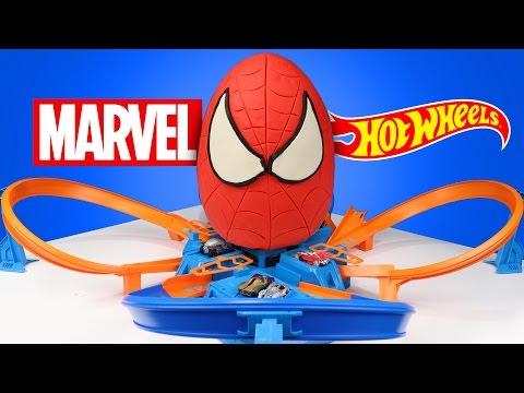 Spiderman Superhero Kinder Play-Doh Surprise Egg with Marvel Hot Wheels Cars & Race Track   KIDCITY