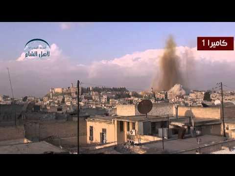 لحظة تفجير القصر العدلي بحلب من قبل لواء التوحيد