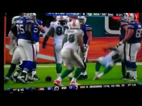Hilarious sack dance by Miami Dolphins Jared Odrick... Sacking Ryan Fitzpatrick of the Buffalo Bills.