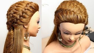 Hairstyle for everyday with braids. Medium long hair tutorial