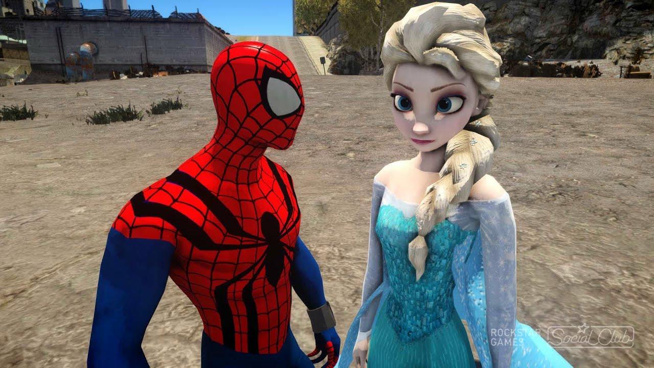 Spiderman vs Elsa The Snow Queen - Frozen - YouTube