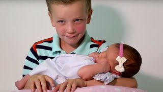 Six Brothers REACT To Meeting Their Baby Sister | What's Trending Now