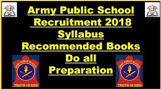 Recommended Books For Army Public School ( AWES) Recruitment 2018 With Syllabus & Exam Tips Ll