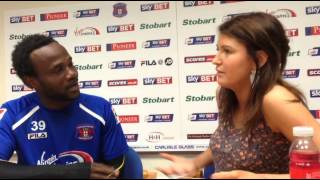 Pascal Chimbonda learning Cumbrian with Alex from the ticket office