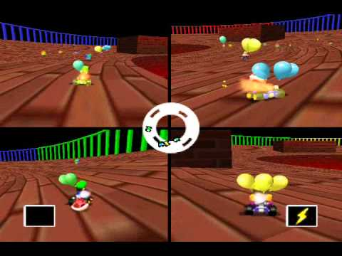 Mario Kart 64 4 player Netplay Battle: Big Donut