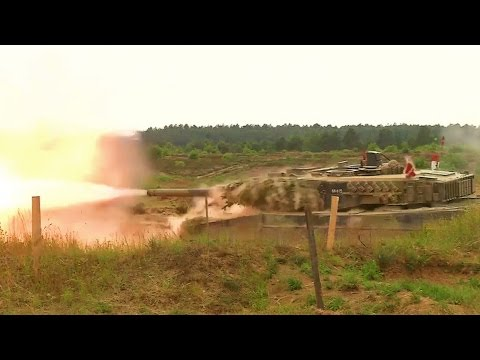 US & NATO Tanks War Game At Eastern Europe Frontline