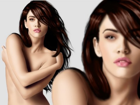 Megan Fox - Transformers 2 - Digital Painting - photoshop Video
