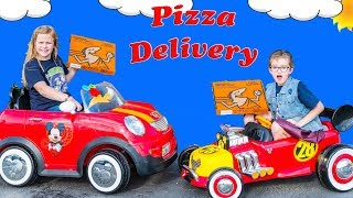 Mickey Mouse Ride on Dueling Pizza Drivers Pretend Play with Assistant and Crystal