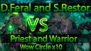 WOW Circle 3.3.5 Feral Druid and Restor Shaman VS Warrior ARMS and Priest Discipline