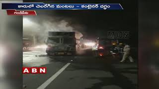 Truck catches blaze  after hit by Car in Rangareddy District