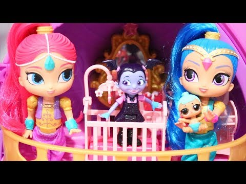 Vampirina Babysits Lil Genie ! Toys and Dolls Fun for Kids Playing with Shimmer & Shine | SWTAD