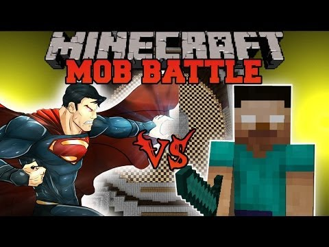 HEROBRINE VS SUPERMAN - Minecraft Mod Battle - Mob Battles - Superheroes Unlimited and Herobrine Mod
