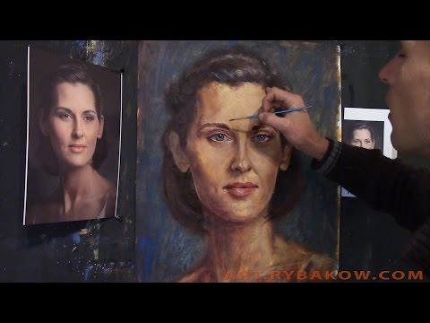 Видео как нарисовать портрет красками