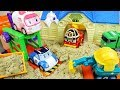 Poli  cars and bus car toys city and sand play