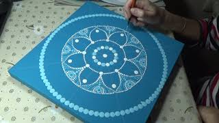 Dot painting mandala. Acrylic Painting. Process from beginning to end.