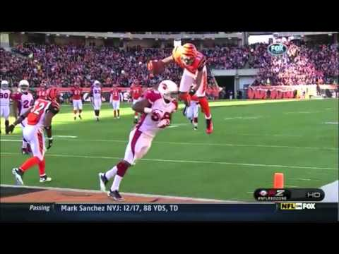 Jerome Simpson on the Bengals does a Front Flip over one of the Cardinals' players for a touchdown...