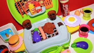 Toy Barbecue carry along Grill BBQ playset with velcro cutting vegetables toy food video