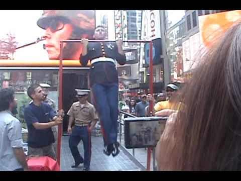 20 USMC Pull Ups Challenge in Times Square - EPIC FAIL Video