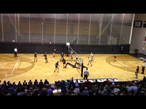 Spartanburg Christian Academy (SCA) state volleyball winning point 2013. 3-peat!