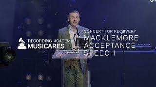 Watch Macklemore's Honoree Speech At The 2019 MusiCares Concert for Recovery