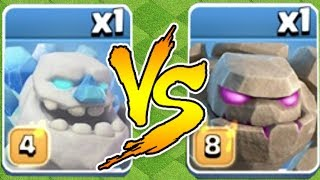 "WHO WILL WIN!?! ""Clash Of Clans"" ICE GOLEM vs. GOLEM!!"