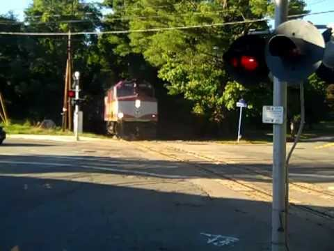 Patriots train crossing intersection  Cocasset St, Maple Pl, and Wall St (Part 2 returning trip)