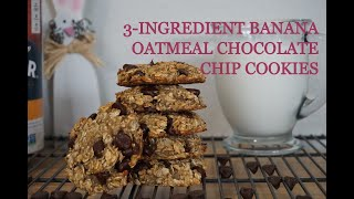 3-INGREDIENT BANANA OATMEAL CHOCOLATE CHIP COOKIES