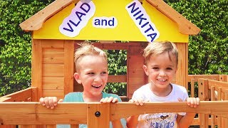 Vlad and Nikita Build a Wooden Playhouse