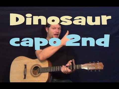 Dinosaur (Hank Williams Jr) Guitar Lesson Easy Strum Chords Tutorial How to Play - Capo 2nd Fret
