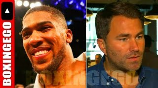"HEARN CLAIMS DEONTAY WILDER FIGHT IS ""EVERYTHING"" TO ANTHONY JOSHUA BUT REFUSES 2LET HIM HAVE 8WK..."