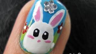 Cute Animal Nails Art Tutorial - Easter Bun Bun Bunny white Rabbit Egg Design for short nails