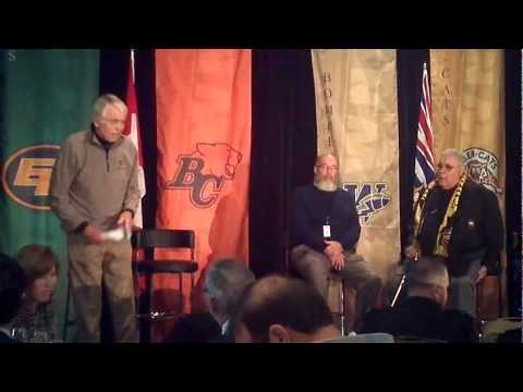I filmed Joe Kapp and Angelo Mosca get into a fight on stage, at the 2011 CFL Alumni Legends Luncheon in Vancouver. It appears there is still some bad blood ...