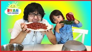 Real Food vs Gummy Food Challenge! Kid React to gross candy world's largest gummy worms