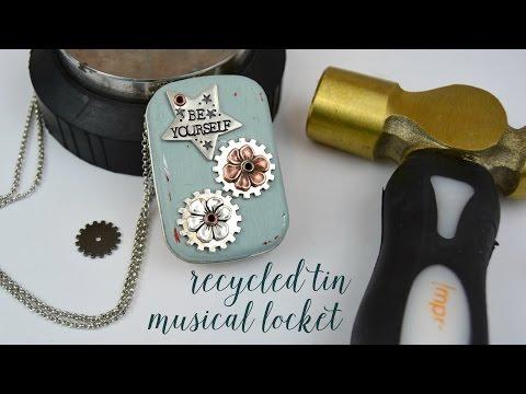Recycled Tin Music Box Locket Demo