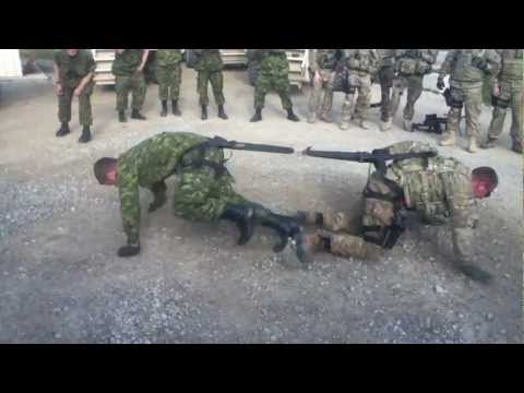 One on one soldier Tug of War, Canada vs USA