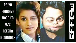 Priya Prakash Varrier V/S Neesha Aur Santosh   Eyebrows Funny Video