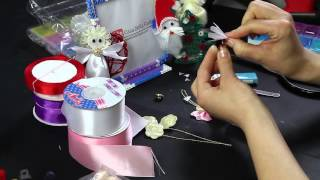 Tutorial ribbon Angel Christmas day decorazioni natalizie angioletto raso snow presents Full HD DIY