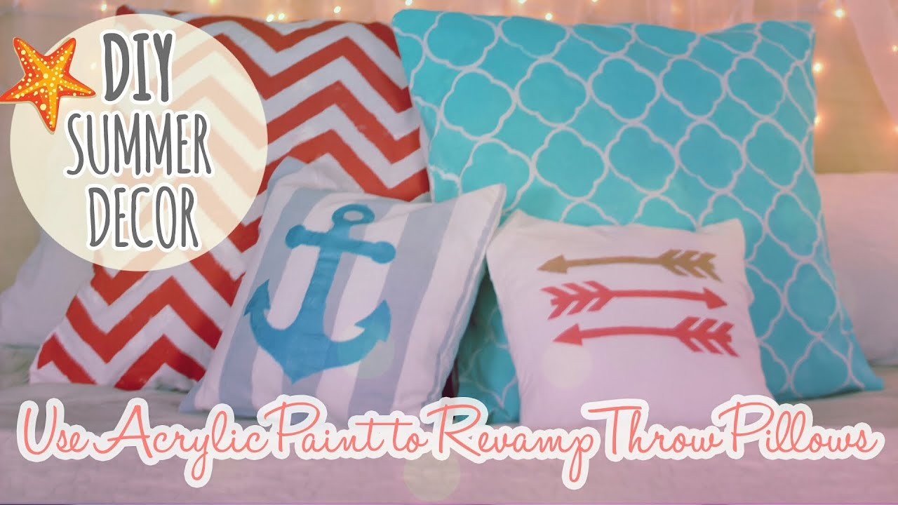DIY Summer Decor Episode 1 - Revamp and Paint Throw Pillows - YouTube