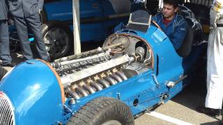 Bugatti Type 59/50B engine start and revving Goodw