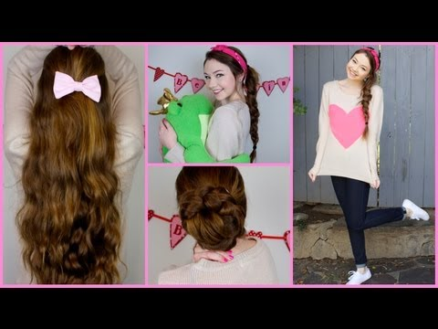 3 Quick n' Cute Valentine's Day Hairstyles + Outfit Idea!