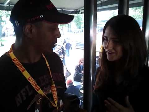 NFL Legend Gary Clark checks out Pirelli World Challenge at the Detroit Grand Prix
