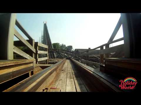 Holiday World's Voyage wooden roller coaster POV in HD