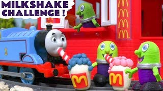 Funny McFunlings McDonalds Drive Thru Milkshake Challenge with Thomas Train and McQueen