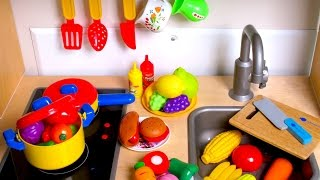 Learn Names of Fruits and Vegetables with toy velcro cutting food! 🎀