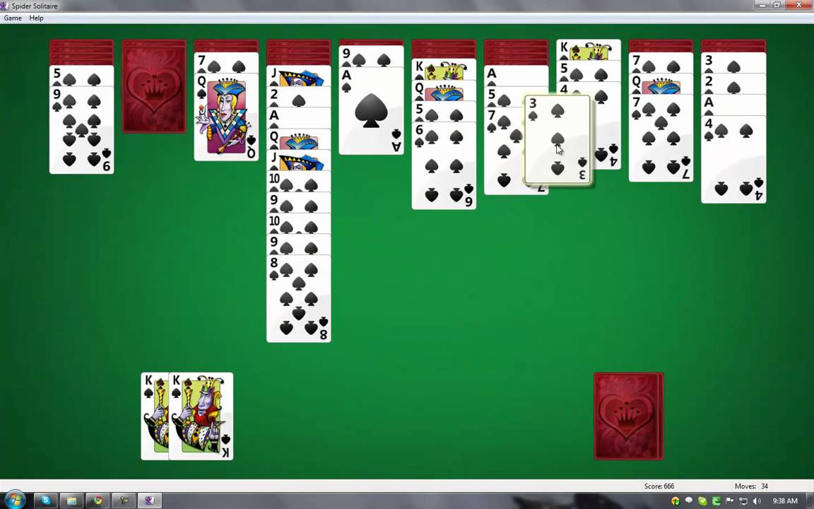 Spider Solitaire Gameplay in Windows 7 - YouTube