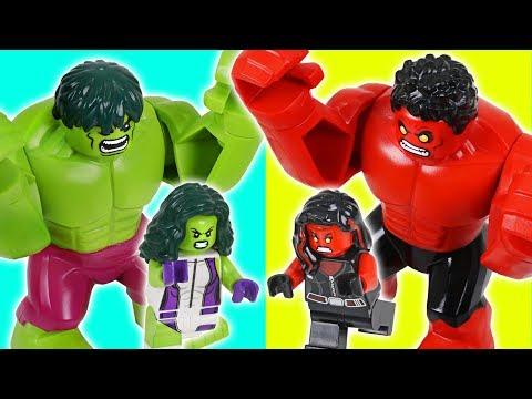 LEGO Red Hulk vs Hulk! Red Hulk She vs Hulk She! Steal diamonds!! - DuDuPopTOY