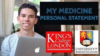Reading My Medicine Personal Statement | King's College London & Birmingham