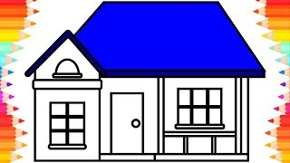 How to Draw House for Kids🏡Art Drawing & Coloring Book for Children. Step by Step Draw